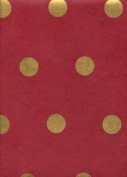 Lokta les pois or sur fond rouge (50x75)