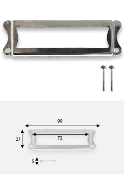 Porte-étiquette festonné argent (72x27mm) + fixations