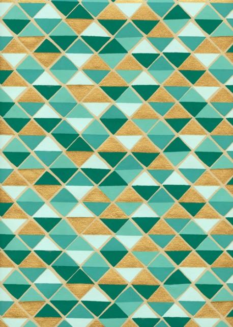 """Mosaique"" turquoise et or (50x70)"