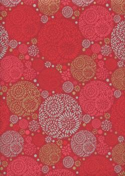 """""""Rosace"""" rouge or et argent (50x70)"""