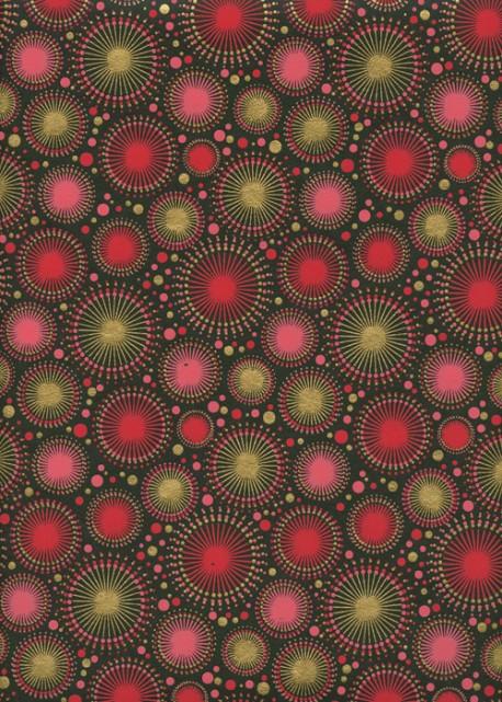 """""""Feu d'artifice"""" rouge et or (50x70)"""