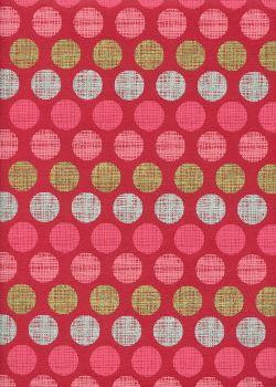 """Pois"" rouge rose argent et or (50x70)"