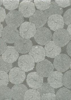 Lokta pompons argent fond gris (50x70)