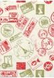 "Lokta ""timbres du monde"" rouge et or (50x70)"