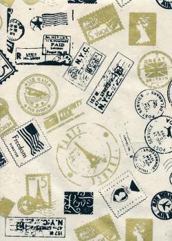"""Lokta """"timbres du monde"""" noir et or (50x70)"""