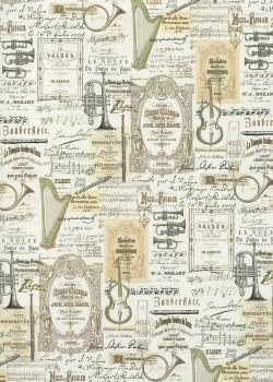 Instruments de musique et partitions réhaussé or (49,5x68)