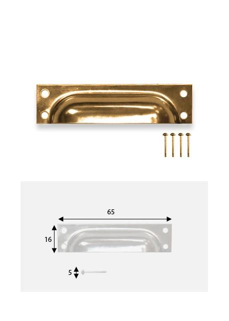 Poignées coquillle rectange doré (65x16mm) + clous de fixations