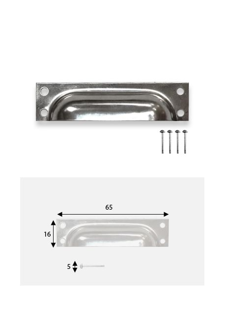 Poignées coquillle rectange argent (65x16mm) + clous de fixations