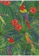 Les perroquets fond exotique vert et bleu (70x100)