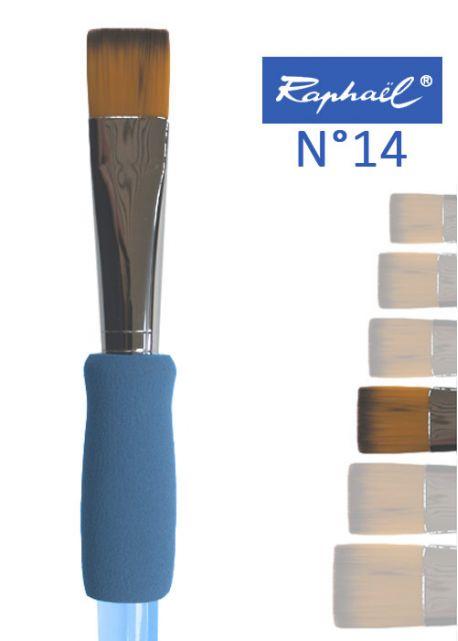 Pinceau à colle plat en nylon Raphael manche ergonomique très souple N°14