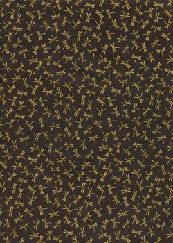Lokta libellules jaunes fond noir (50x75)