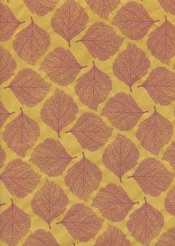 Lokta empreinte de feuilles bordeaux fond jaune (50x75)