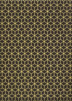 Lokta cubique or fond noir (50x75)