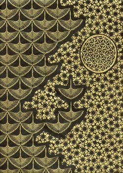 Lokta planche japonaise noire et or (50x75)