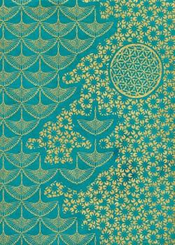 Lokta planche japonaise turquoise et or (50x75)