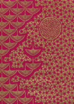Lokta planche japonaise framboise et or (50x75)