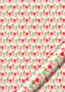 Les petites fleurs tiges roses fond écru (50x70)