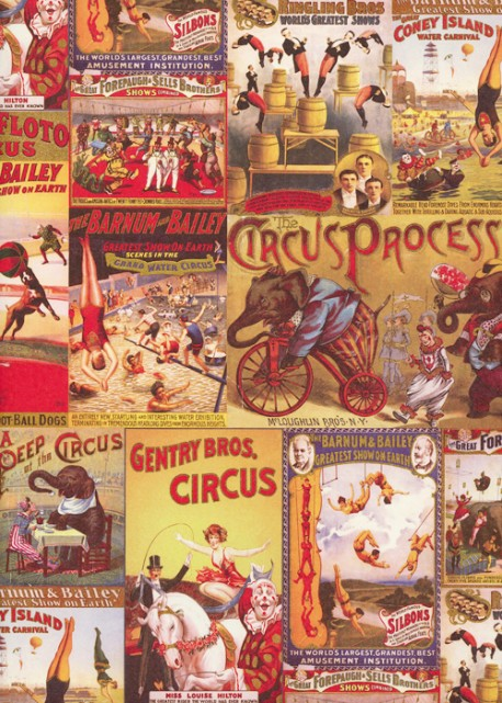Le monde du cirque réhaussé or (70x100)
