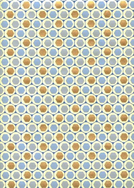 """""""Nid d'abeilles"""" bleu et or (50x70)"""