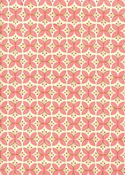 Papillons de fleurs roses et or (50x70)