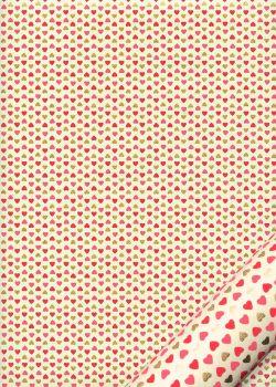 Mini coeurs rouges et or fond ivoire (50x70)