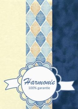 HARMONIE TRIO Feuilles stylisées bleu et or