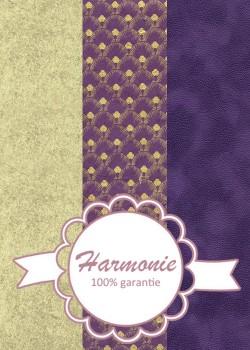 HARMONIE TRIO Plumes de paon or fond violet