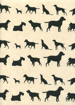 Lokta les chiens noirs fond ivoire (50x75)