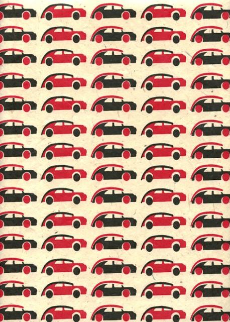 Lokta les bolides rouges et noirs fond ivoire (50x75)