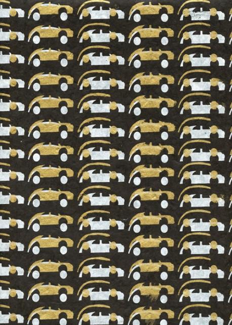 Lokta les bolides blancs et or fond noir (50x75)