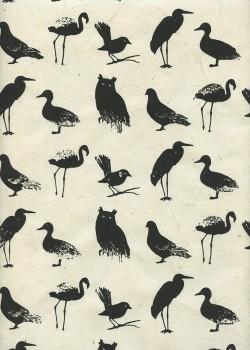 Lokta les oiseaux noirs fond ivoire (50x75)