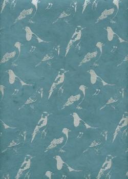 Lokta profils d'oiseaux argent fond bleu (50x75)