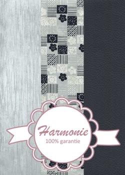 HARMONIE TRIO Patchwork et fleurs marine et gris