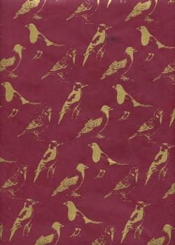 Lokta profils d'oiseaux or fond rouge foncé (50x75)