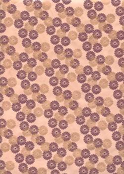 Lokta les paquerettes bordeaux et cuivre fond rose fané (50x75)