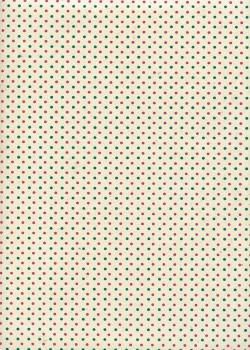 Lokta les petits points roses et verts fond ivoire (50x75)