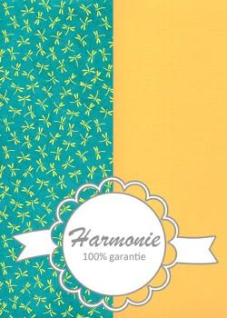 HARMONIE DUO Les libellules jaunes fond turquoise