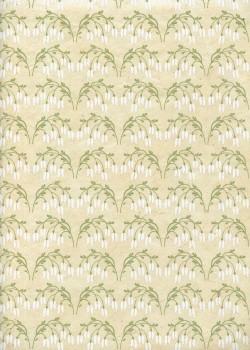 Lokta bouquets de clochettes blanches fond ivoire (50x75)