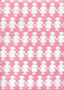 Lokta les petites filles argent fond rose (50x75)