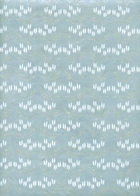 Lokta bouquets de clochettes blanches fond bleu (50x75)