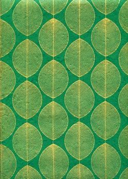 Lokta les feuilles or fond vert émeraude (50x75)