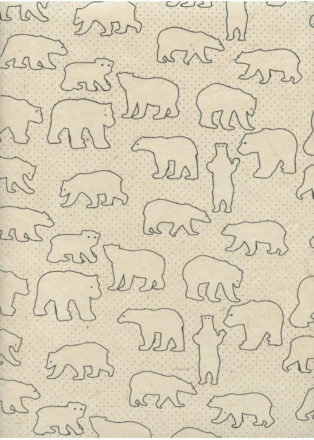 Lokta les ours noirs fond ivoire (50x75)