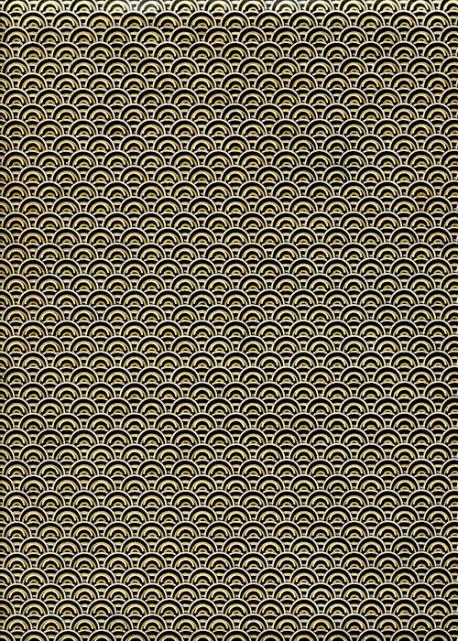 Lokta arc en ciel or et argent fond noir (50x75)