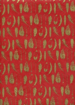 Lokta collection de plumes or sur fond rouge (50x75)