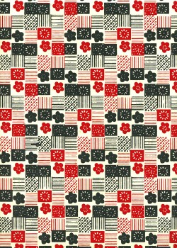Lokta patchwork et fleurs ambiance rouge et noire (50x75)