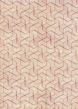 Lokta cubique rouge fond ivoire (50x75)