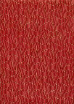Lokta cubique or fond rouge (50x75)