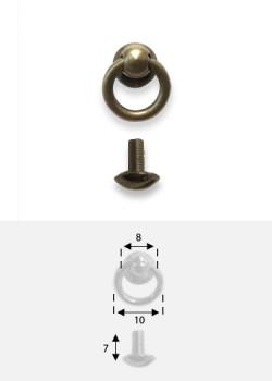 Anneau belière bronze Ø10mm + vis