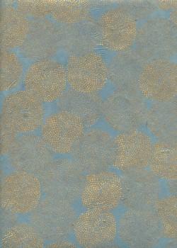 Lokta pompons or fond bleu (50x70)