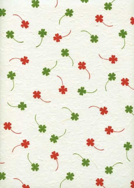 Papier murier trèfles rouges et verts (56x78)